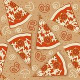 Nahtloses Muster der Pizza. Vektornahrungsmittelhintergrund Stockbild
