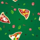 Nahtloses Muster der Pizzascheibe Stockfoto