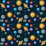 Nahtloses Muster der Planeten Stockbild