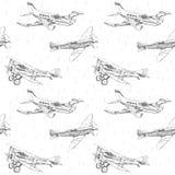 Nahtloses Muster der Propellerflugzeuge Stockfotografie