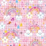 Nahtloses Muster der Regenbogenwolkenherz-Regentropfen Stockbild