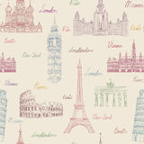 Nahtloses Muster der Reise Ferien in Europa-Tapete Reise zu Lizenzfreie Stockbilder