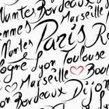 Nahtloses Muster der Reise-Frankreich-Bestimmungsortstädte Stockbild
