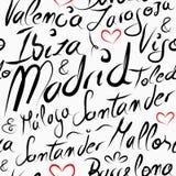 Nahtloses Muster der Reise-Spanien-Bestimmungsortstädte Lizenzfreie Stockbilder