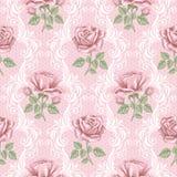 Nahtloses Muster der Retro- Blume - Rosen Lizenzfreies Stockbild
