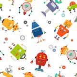 Nahtloses Muster der Roboter Kind-robo Hintergrund Farbnettes Kindermuster Stockfoto