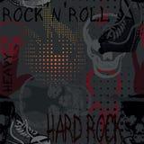 Nahtloses Muster der Rockmusik mit dem Schädel, den Turnschuhen und elektrischem GU Lizenzfreie Stockfotos