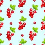 Nahtloses Muster der rote Johannisbeerbeeren auf hellblauem Hintergrund lizenzfreie abbildung