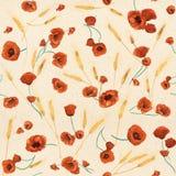 Nahtloses Muster der roten Aquarellmohnblumen Stockbilder