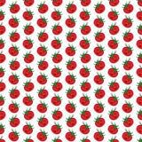 Nahtloses Muster der roten lustigen Karikaturgemüsetomate Stockbild