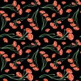 Nahtloses Muster der roten Mohnblumen der Aquarellweinlese Stockbilder