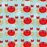 Nahtloses Muster der roten Panzerkrebse mit lustigem nettem Stockfotografie