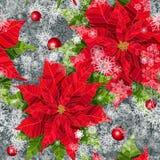 Nahtloses Muster der roten realistischen Vektor-Illustration der Poinsettiablume Lizenzfreies Stockfoto