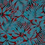 Nahtloses Muster der roten und blauen gestreiften tropischen Blätter stock abbildung