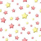 Nahtloses Muster der roten und goldenen Sterne Lizenzfreie Stockfotografie