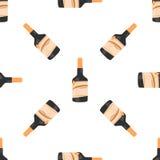 Nahtloses Muster der Rumflasche auf weißer Hintergrundisolierung Stockfotografie