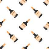 Nahtloses Muster der Rumflasche auf weißer Hintergrundisolierung Lizenzfreie Stockbilder