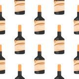 Nahtloses Muster der Rumflasche auf weißer Hintergrundisolierung Stockbilder