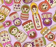 nahtloses Muster der russischen Puppe Stockbilder