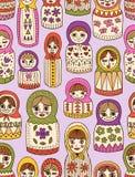 Nahtloses Muster der russischen Puppe Stockfoto