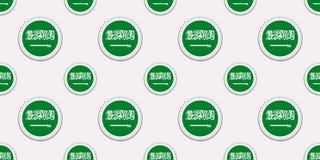 Nahtloses Muster der Saudi-Arabien Runden-Flagge Saudi-arabischer Hintergrund Vektorkreisikonen Geometrische Symbole Beschaffenhe vektor abbildung