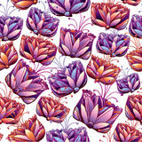 Nahtloses Muster der schönen Blumen. Lizenzfreie Stockfotografie