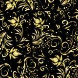 Nahtloses Muster der schönen goldenen Blumen mit Liebe lizenzfreie abbildung