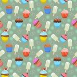 Nahtloses Muster der Schalenkuchen- und -eiscreme stock abbildung