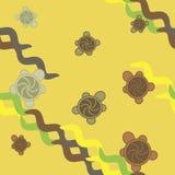 Nahtloses Muster der Schildkröten - Grün und Gelb Lizenzfreie Stockfotografie