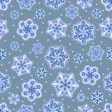 Nahtloses Muster der Schneeflocke Feiertagstapete Endloser Hintergrund des Winters Set blaue Schneeflocken Stockfotografie
