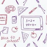 Nahtloses Muster der Schule im Notizbuch Stockbilder
