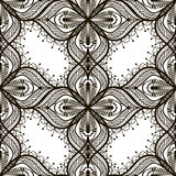 Nahtloses Muster der schwarzen Spitzes auf weißem dackground Stockbild
