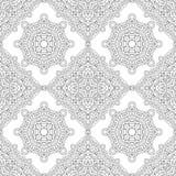 Nahtloses Muster der Schwarzweiss-Mandala Linie Kunst Lizenzfreie Stockbilder