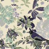 Nahtloses Muster der Seidenblumen und der Vögel Stockfotos
