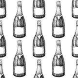 Nahtloses Muster der Sektflasche Hand gezeichnete lokalisierte Vektorillustration alcohol lizenzfreie abbildung