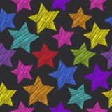 Nahtloses Muster der Skizze mit Sternen Rote grüne orange rosa Flieder Stockfoto