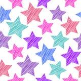 Nahtloses Muster der Skizze mit Sternen Rote rosa lila blaue Sterne an Lizenzfreie Stockfotografie