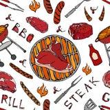 Nahtloses Muster der Sommer BBQ-Grill-Partei Großes T-Bone-Steak, Wurst, Grill-Gitter, Zangen, Gabel, Feuer, Ketschup Hand gezeic vektor abbildung