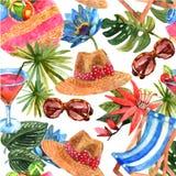 Nahtloses Muster der Sommerurlaubsreise Lizenzfreies Stockbild