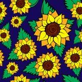 nahtloses Muster der Sonnenblume Lizenzfreie Stockfotografie