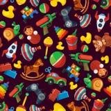 Nahtloses Muster der Spielwaren für Kinderisolat auf dunklem Hintergrund stock abbildung
