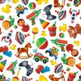 Nahtloses Muster der Spielwaren für Kinderisolat auf weißem Hintergrund stock abbildung