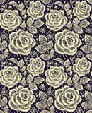 Nahtloses Muster der Spitzes der gelben Rosen stock abbildung