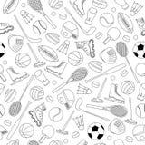 Nahtloses Muster der Sport-Ausrüstung Lizenzfreies Stockfoto