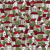 Nahtloses Muster der Stadt in den Farben mit Bäumen lizenzfreie abbildung