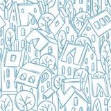 Nahtloses Muster der Stadt mit Dächern Stockfotos