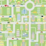 Nahtloses Muster der Stadt Moderne Metropole mit Gebäuden, Autos Stockfotografie