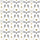 Nahtloses Muster der Stammes- Pfeile Vektordruckdesign in der ethnischen Art Weinlesegold und schwarzes Muster Lizenzfreies Stockfoto