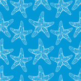 Nahtloses Muster der Starfish, blau Stockfotos