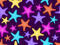 Nahtloses Muster der Starfishes E Vektor Lizenzfreie Stockfotografie